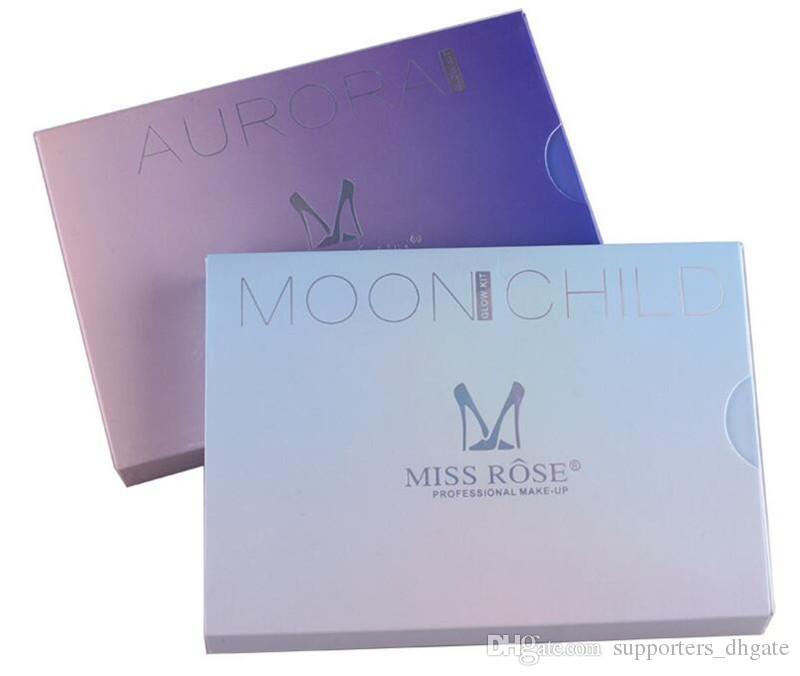 Miss Rose Maquillaje rubor Kit de brillo ete en polvo Paleta facial Resaltadores cosméticos que Moon Child AURORA es 9 estilos DHL