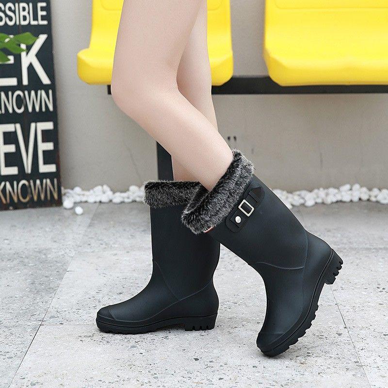 9edd5b76fe6b0 2018 Four Seasons Warm Matte Rain Shoes Women s Middle Tube Add Down ...