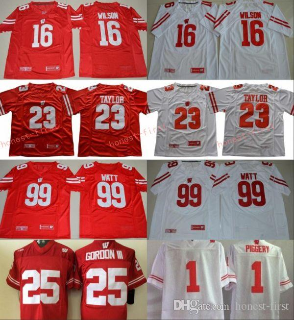 best service 3b05b 80bf0 NCAA Wisconsin Badgers College Football 16 Russell Wilson Jersey Men 99 JJ  Watt 23 Jonathan Taylor 25 Melvin Gordon III 1 Piggery Red White