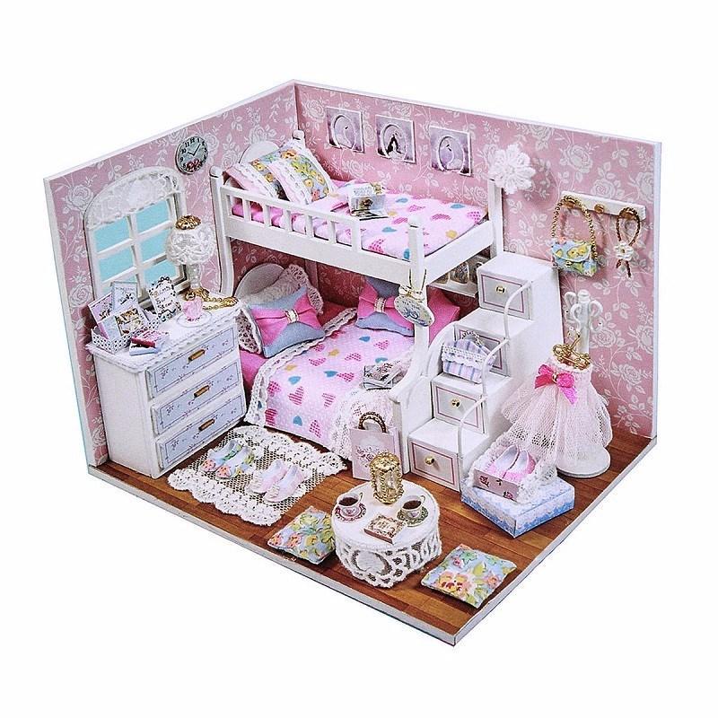 New Arrival Cuteroom DIY Wood Dollhouse Kit Miniature With Furniture