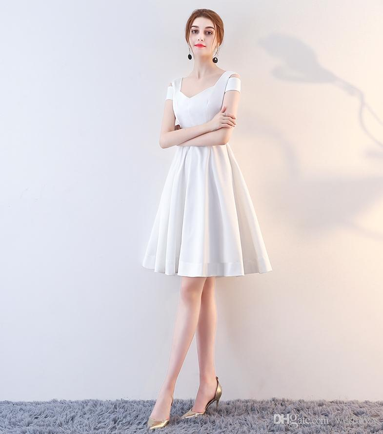 High-Quality White Red Ball Homecoming Gown A Shoulder In Spring And Autumn 2019 New Skirt Backless Cocktail Party Dress Zipper