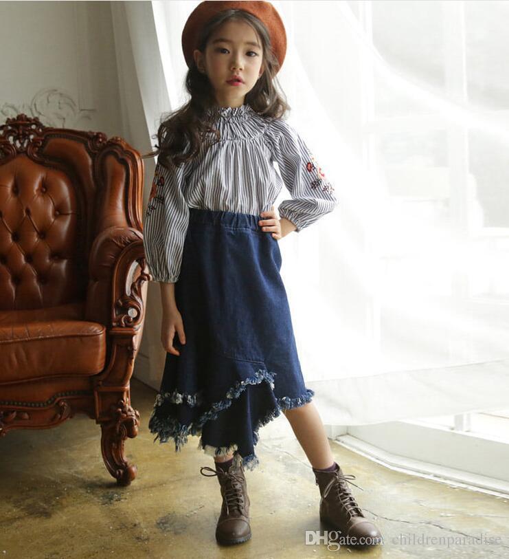 b839ff689178 2019 2018 Korean Style New Girls Denim Tassel Skirt Ruffles Autumn ...