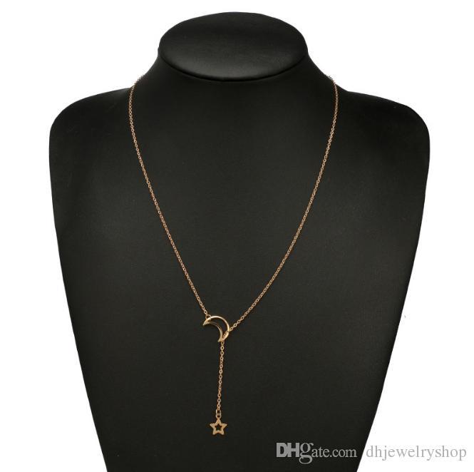 Moda Hilal Ay Yıldız Kolye Gerdanlık Kolye Altın Gümüş Katmanlama Düz Ince Narin Zincir Charm Basit Dainty Kolye Jewery Hediyeler