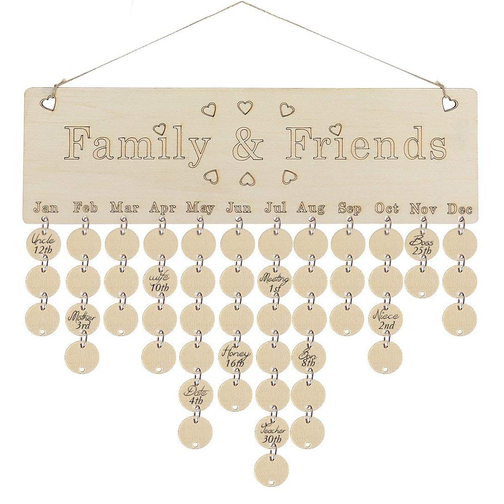 Birthday Calendar.Diy Fashion Wooden Birthday Calendar Family Friends Sign Special Dates Planner Board Hanging Decor Gift Decorate Your Home