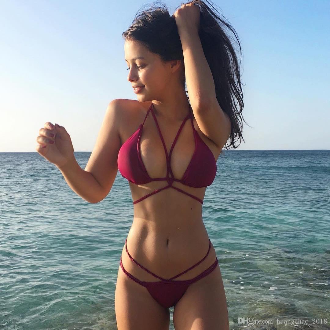 Großhandel Bademode Frauen 2018 y Wein Schwarz Beach Wear Plus