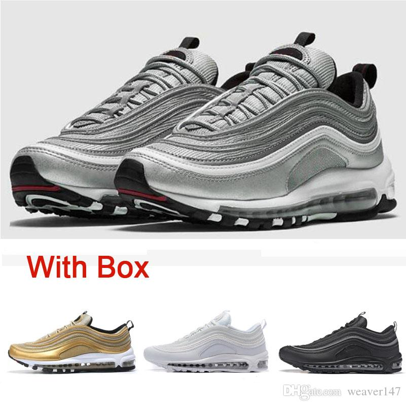 d379f4e0d93 With Box 97 Shoes Triple White Black Pink Running Shoes Og Metallic Gold  Silver Bullet Mens Trainer Women Sports Shoes Sneakers Size 36 45 Shoe  Shops ...