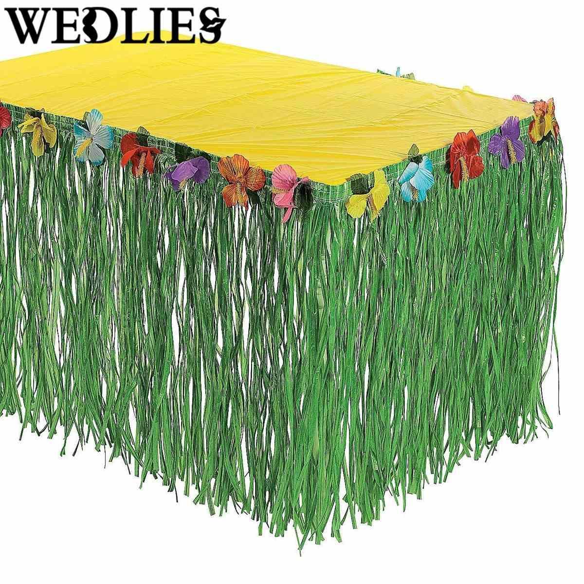 Discount Hawaiian Luau Flower Green Grass Table Skirt Outdoor Patio ...