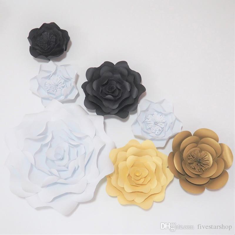 7 stücke set Riesige Papierblumen Für Schaufenster Hochzeit Kulissen Props flores artificiais para decora o Baby Dusche