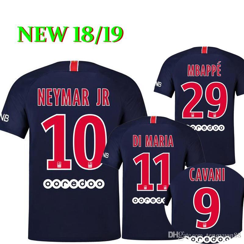 0e3584775 NEW 2018 2019 NEYMAR JR THIRD BLACK Soccer Jerseys MBAPPE VERRATTI ...