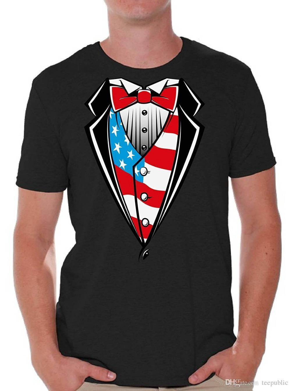 aae72098d30 Graphic T Shirts Crew Neck Men S Tuxedo American Flag T Shirt Tops Usa  Patriotic Men Short Tall T Shirt Designer Tee Best T Shirt Online From  Amesion68