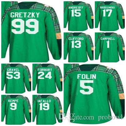 check out a4e35 a6aa4 ... best quality green st. patricks day custom men los angeles kings 15  andy andreoff 99