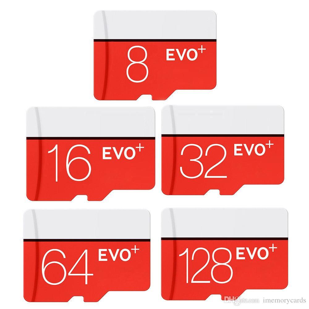 2018 venta caliente 100% real rojo blanco EVO Plus + C10 16 gb Tarjeta de memoria Tarjeta de memoria TF con paquete de blister minorista gratuito para cámara pcs teléfono