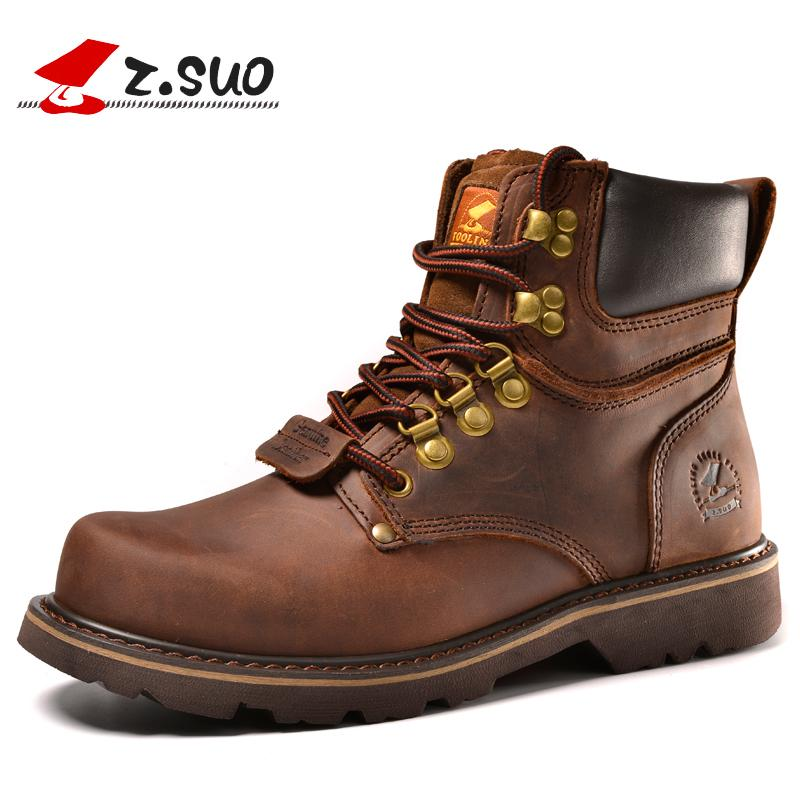 2019 Z. Suo Brand Men Boots Military 2018 Fashion Genuine Leather Casual  Ankle Boots Men Lace Up Tactical Boots Man Botas Hombre Sneakers Rain Boots  Mens ... d1adf0b339de