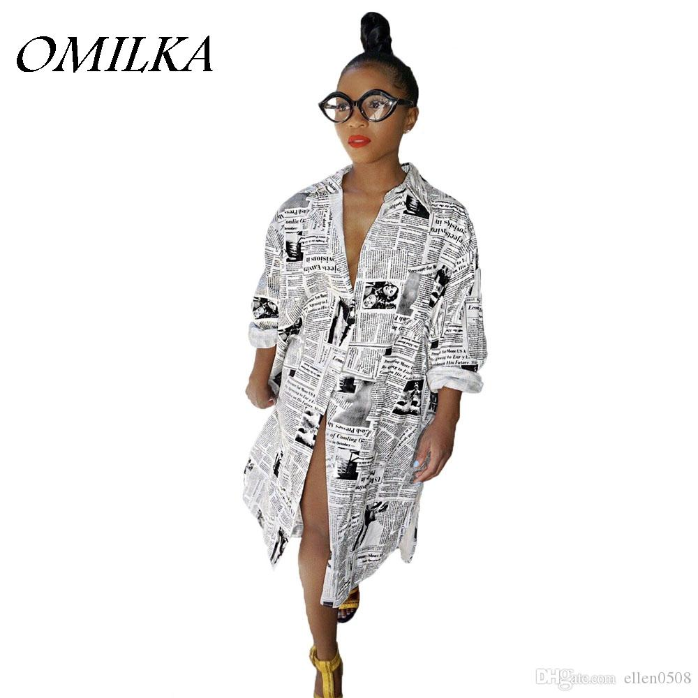 8f8167db9772 OMILKA 2018 Newspaper Printed Shirt Dress Autumn Women Long Sleeve Turn  Down Collar Casual Hip Hop Club Streetwear Shirt Dress Purple Dresses  Winter Dresses ...