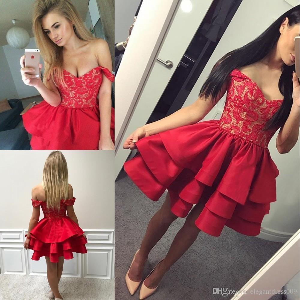 2018 New Design Red Off Shoulder Elegant Beaded Lace Satin Tiered Cocktail Dress 2018 Hot Sale Party Dress Short Prom Party Gowns Custom