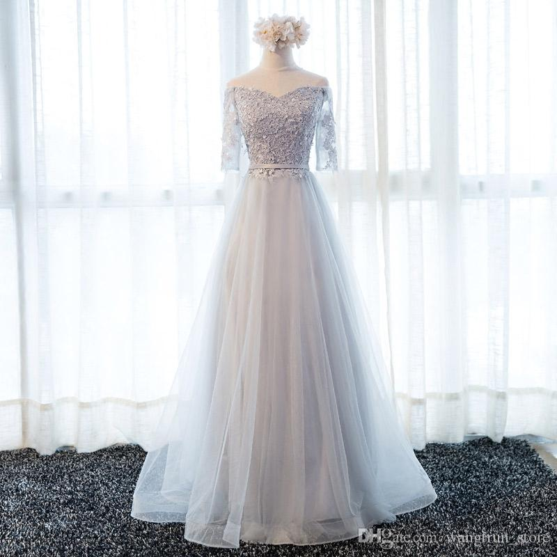 a3f6de808af Off The Shoulder Evening Dresses Long Prom Party Gown Grey A Line Lace Up  Back Tulle Formal Dresses Evening Wearing Couture Evening Dresses Evening  Black ...