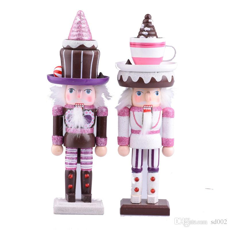 25cm Wooden Soldier Puppet The Nutcracker Lifelike Cartoon Character Dessert Hat Coloured Drawing Crafts Home Ornament 17 68zh Hh