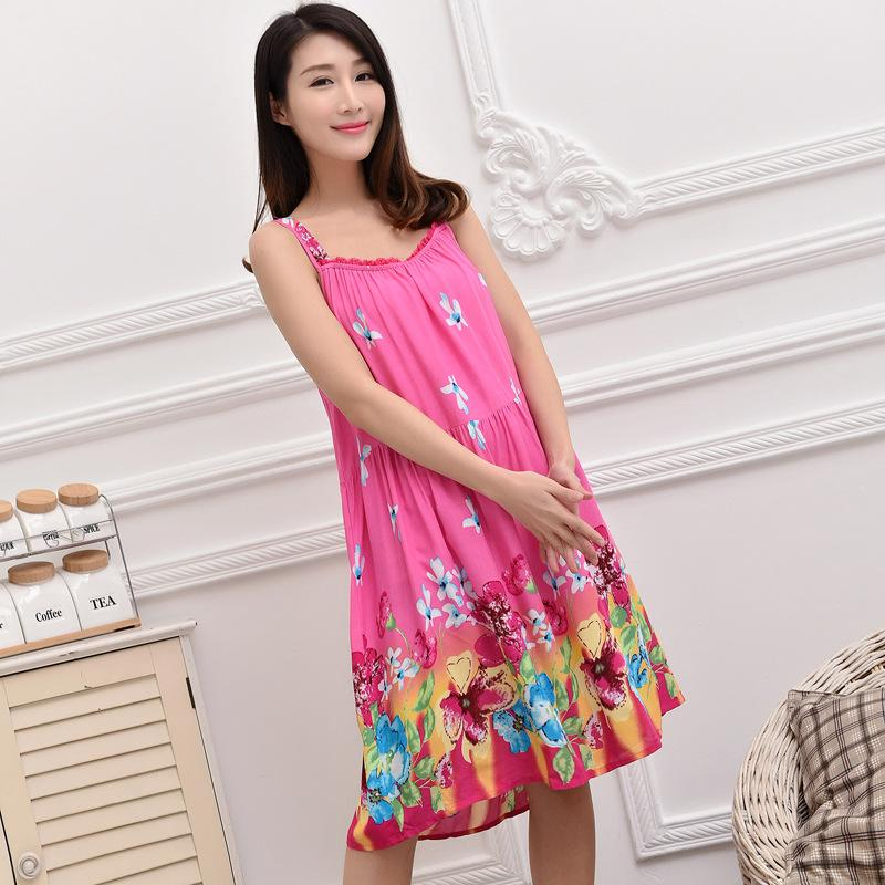 29ad1dcca8bea 2019 Women Cotton Nightgown Floral Sleep Dress Sleeveless Sleep Shirt Plus  Size Night Shirt Sexy Nightwear Casual Home Dress B 5417 From Jellwaygood