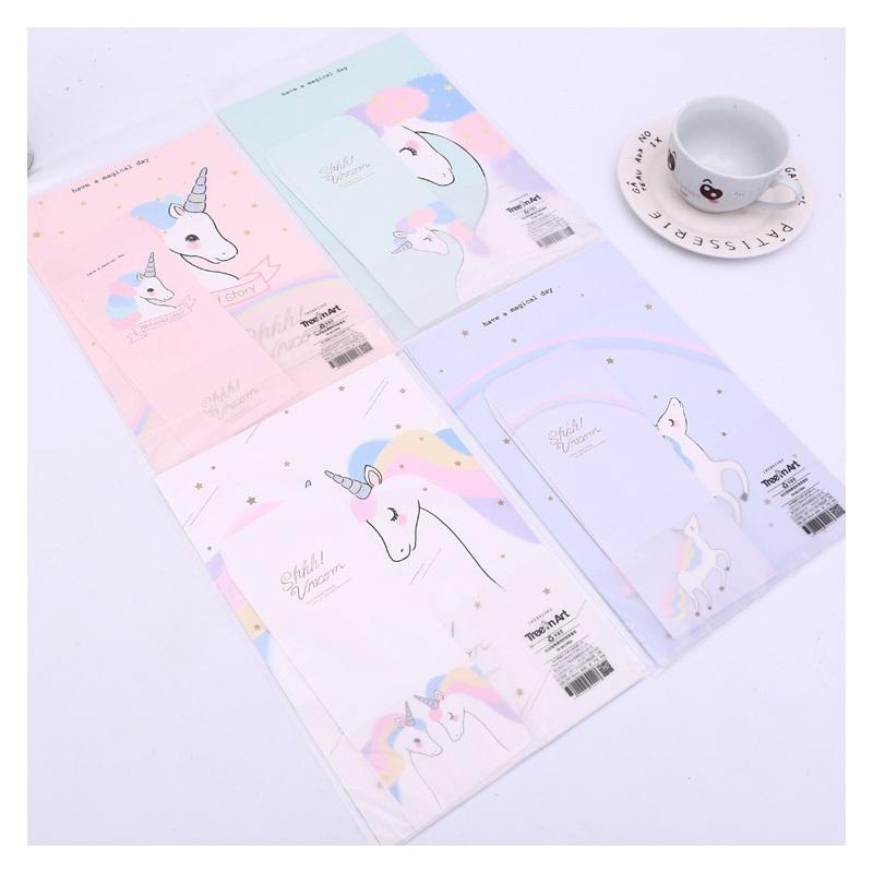 2018 3 envelopes 6 letter papers lovely cartoon unicorn letter