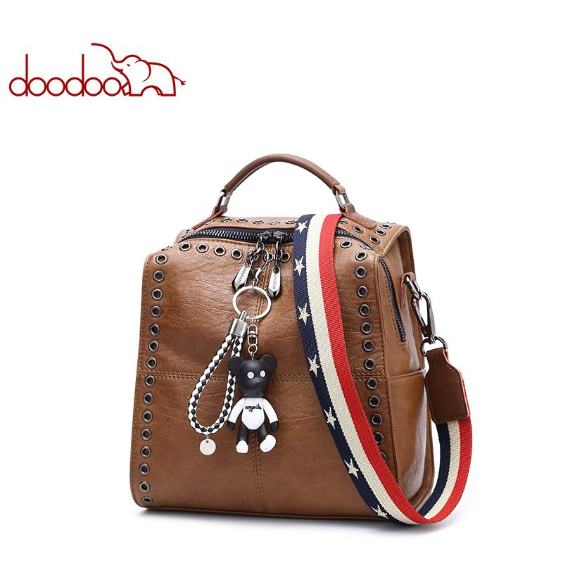 f2286e1c81a6 Fashion Backpack Women Bag Pu Leather Backpacks Travel Multifunctional Rivet  Hollow Newest Bear Ornaments Back Pack Backpack Online with  152.14 Piece  on ...