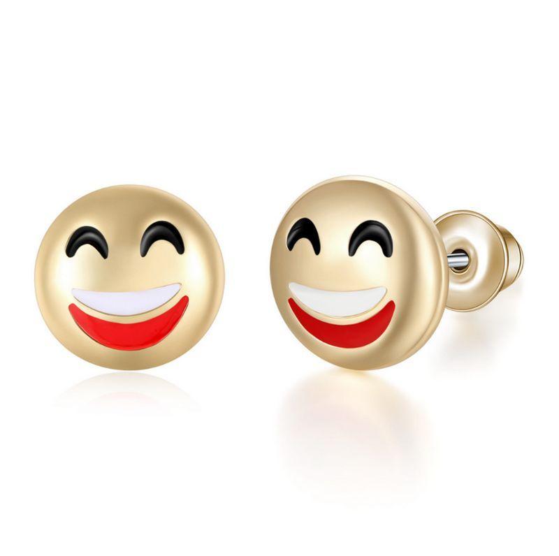 Vente chaude 10 Styles Bijoux Boucles D'oreilles Amour Coeur Emoji Smiley Visage Oreille Goujons En Alliage Oreille Ongles Pour Les Femmes