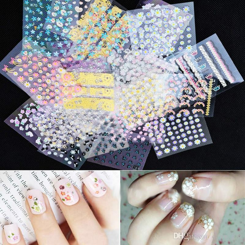 20 Sheet Hot Sale New Fashion 3d Nail Art Flowers Sticker Set Decal