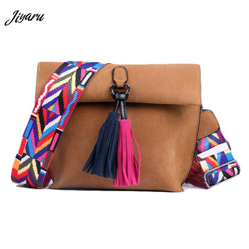 Women Messenger Bags Female Shoulder Bag Fashion Women Tassel Handbags with Colorful Strap Female Outside Travel Crossbody Pouch