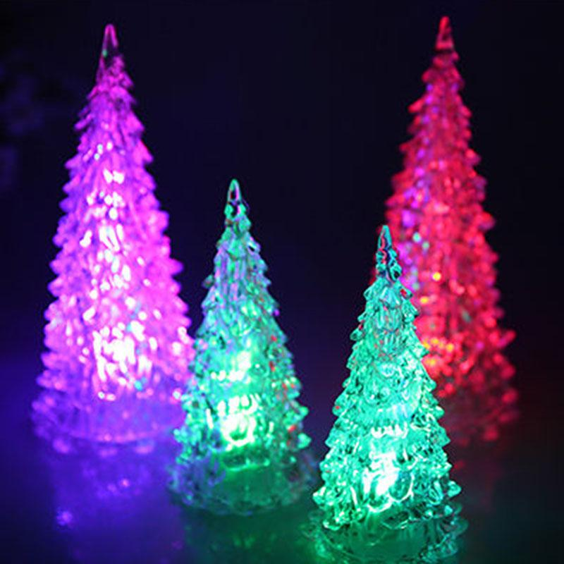 led battery operated colour changing night light desk table top christmas tree new year decoration gift festive party supply decorations xmas decorative