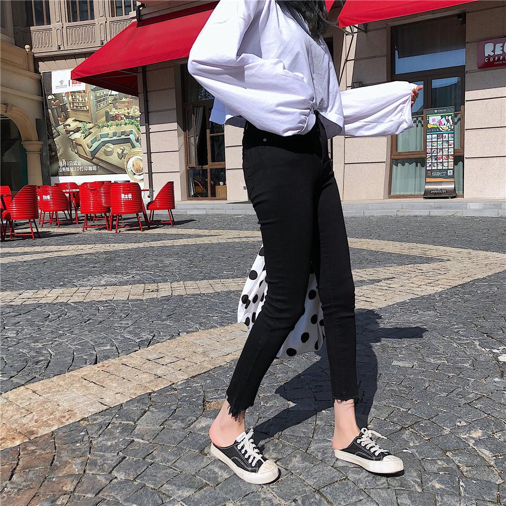be0748ae73 2019 S XL 2018 Autumn Korean Chic Style Women Black Skinny Denim Pants  Casual High Waist Irregular Jeans For Women Pants Z8380 From Ingridea