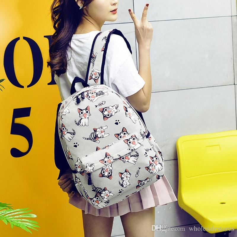 390e67887a51 Women Girls Canvas Backpack Cute Cat Print School Bag Travel Rucksack  College Personalized Backpacks Hunting Backpacks From Wholesalestores