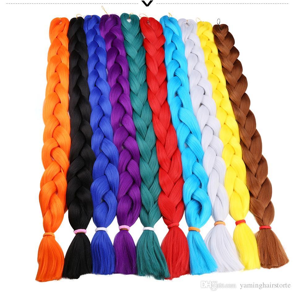 패션 41 인치 Kanekalon Xpression Braids 합성 브레이드 헤어 익스텐션 African Burgundy Jumbo Braids Hair Colors 165g