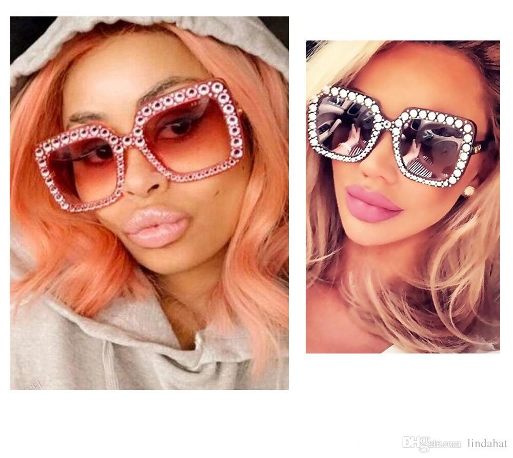 d10a2cec07b 2018 Luxury Square Sunglasses Women Italy Brand Designer Diamond Sun ...