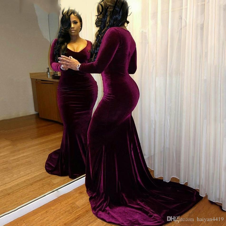 306fc6cb372 Sexy Elegant Plus Size Velvet Prom Dresses Purple Black Girls Long Sleeves  Mermaid V Neck Formal Party Dress Court Train Evening Gowns Wear Popular  Prom ...