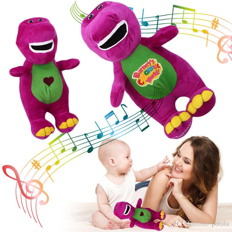 12inch Lovely Barney The Dinosaur 30cm Sing I LOVE YOU song Embroidered Purple Plush 12'' Soft Toy Doll Stuffed animals Kids toys Xmas gifts