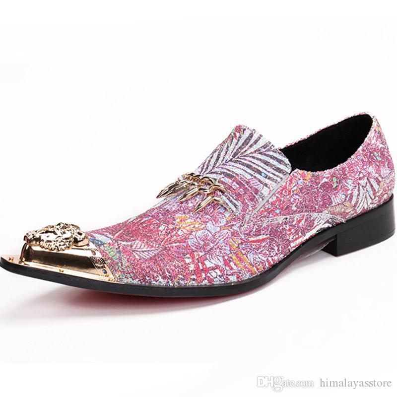 2018 İtalyan tarzı erkek ayakkabı markaları karışık renk glitter balo ayakkabı sivri yaz hakiki deri resmi ayakkabı erkekler