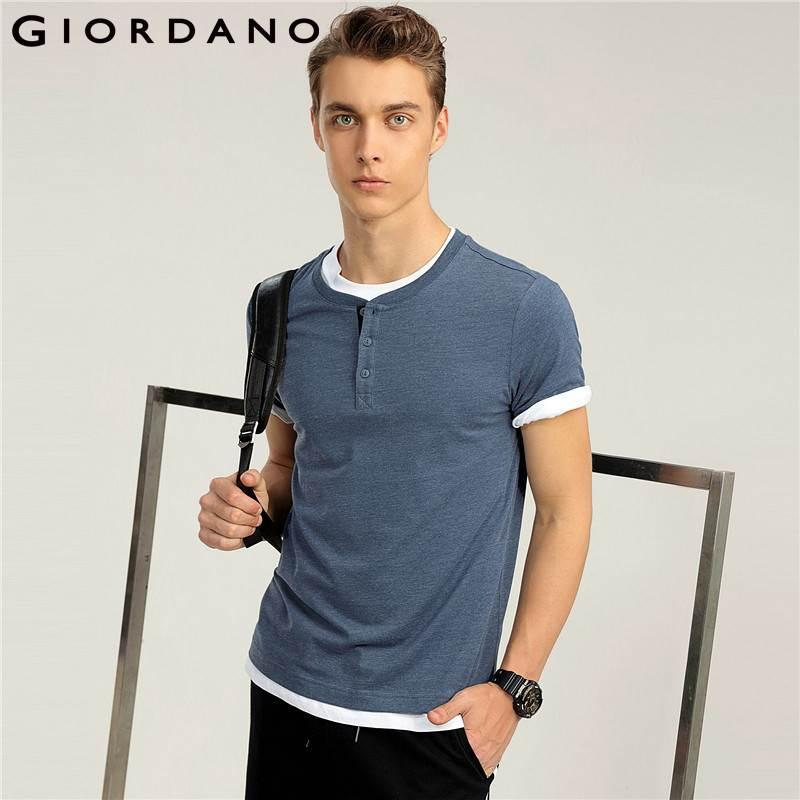 20a578fe3de4 Giordano Men Tee Solid Henley Collar Tee Cotton Short Sleeves Tops ...