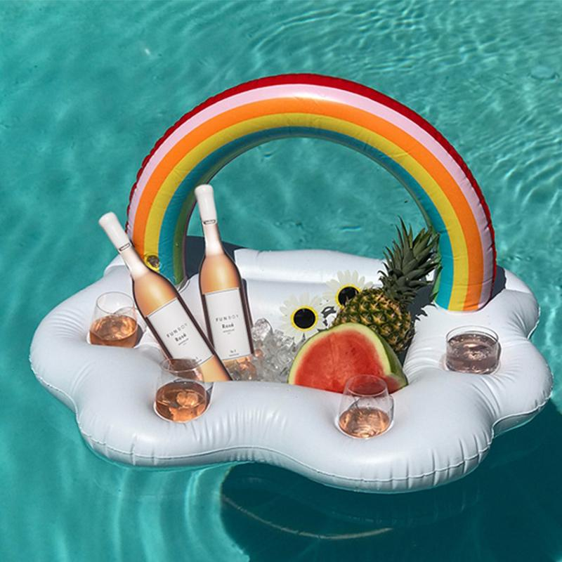 Inflatable Clouds Rainbow Drink Cup Holder Pool Floats Inflables