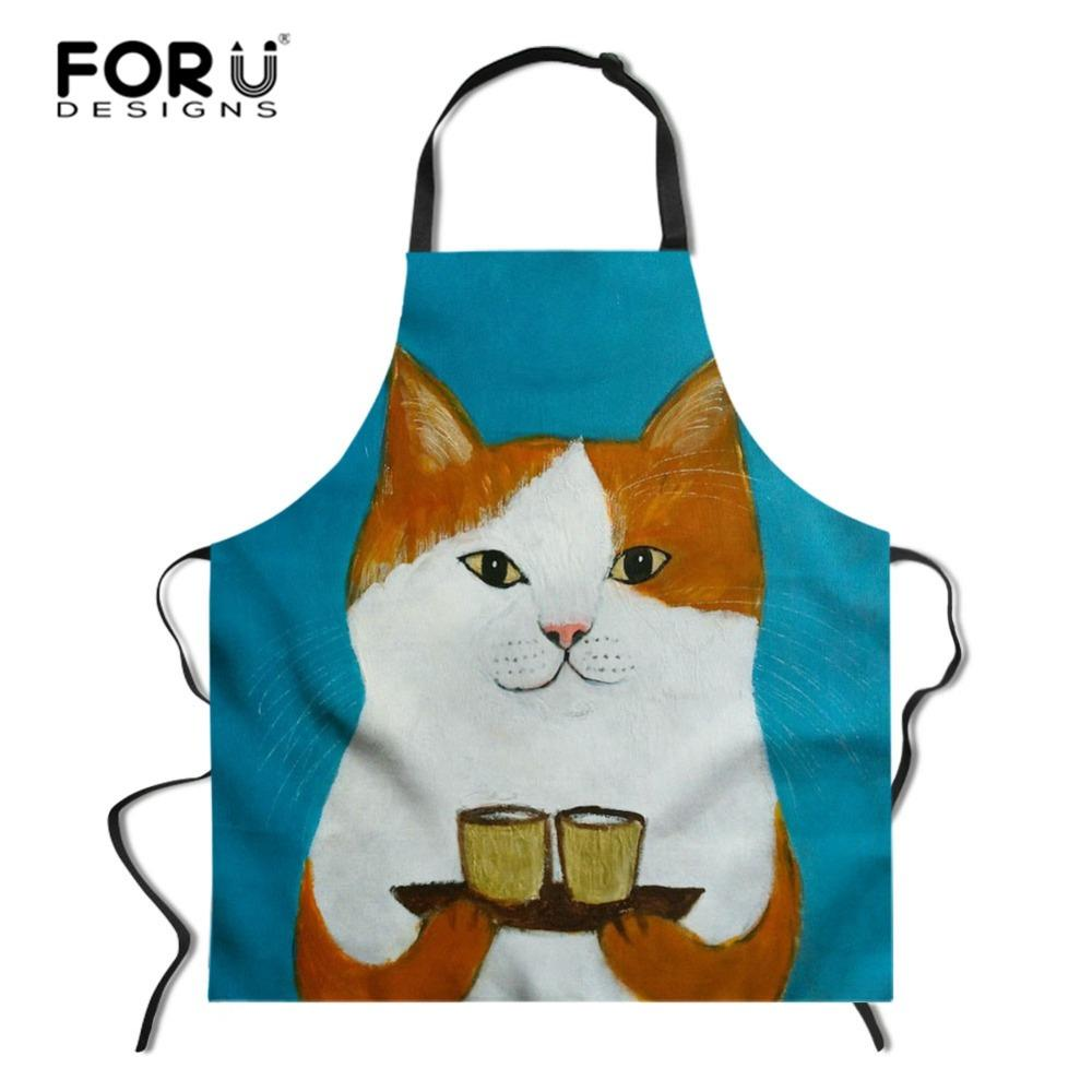 2019 New Style Kitchen Apron Cooking Aprons For Woman Men Polyester Cartoon Printed Apron Clearance Price Home