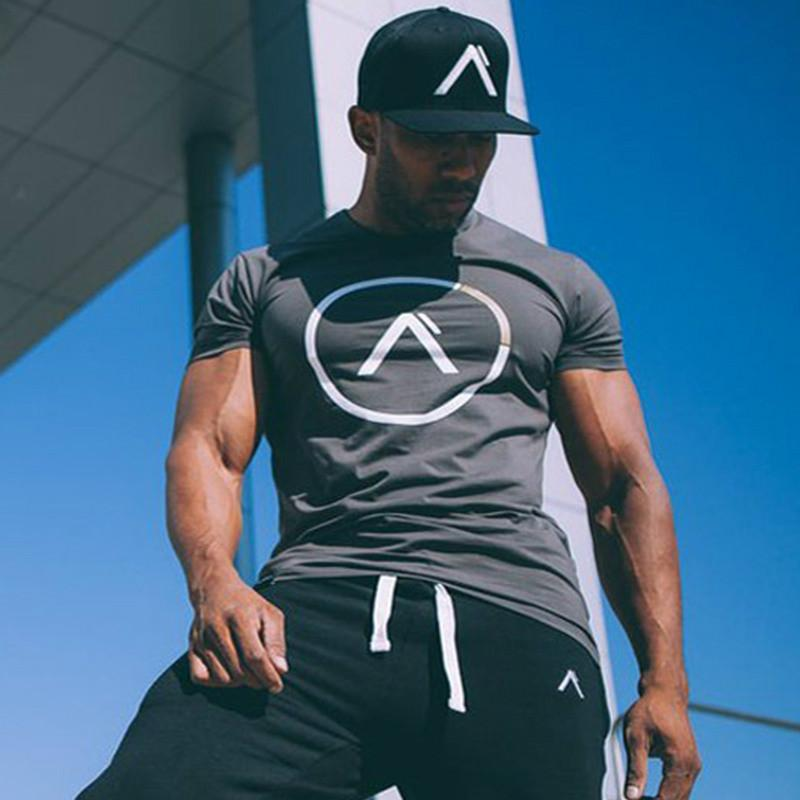 Men summer style T-shirt gyms Fitness Bodybuilding Shirts Slim fit Fashion Casual Male Short sleeves cotton clothing Tee Tops