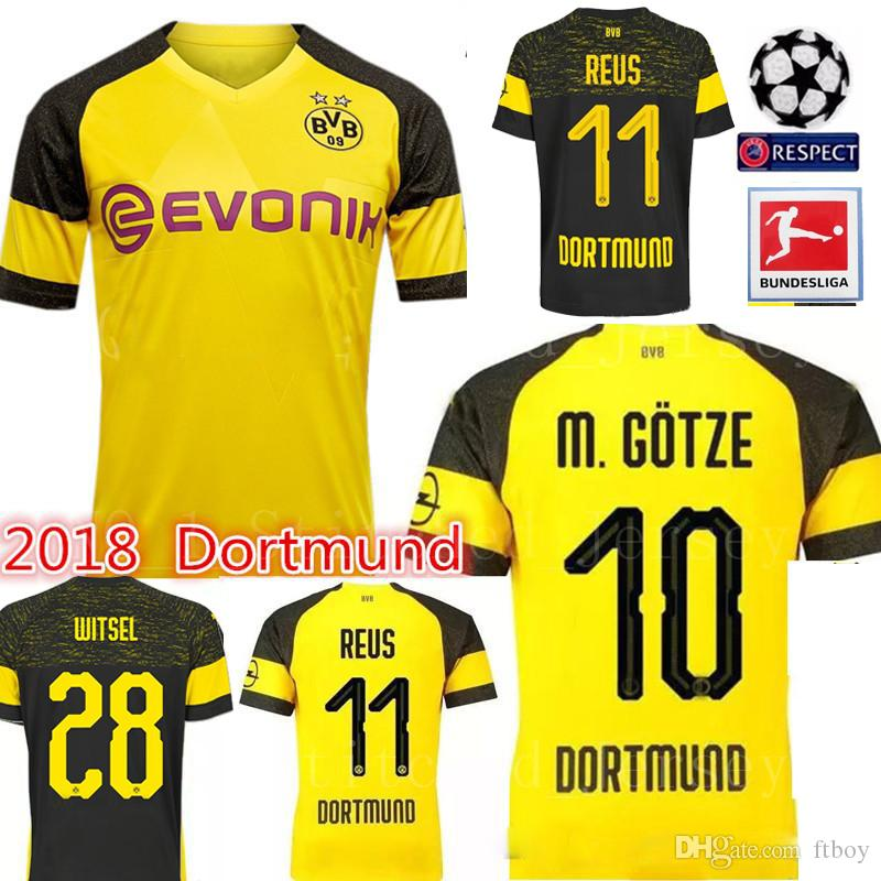 eacd7f65f 2019 Dortmund Home Soccer Jersey 18 19  11 REUS Home Yellow Soccer ...