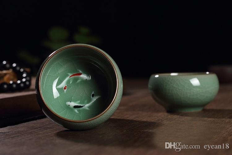 Cinese Longquan Celadon Pesce D'oro Tazze Da Tè E Caffè Tazza Caneca Cina Porcellana Tazze De Tè Crackle Tea Set