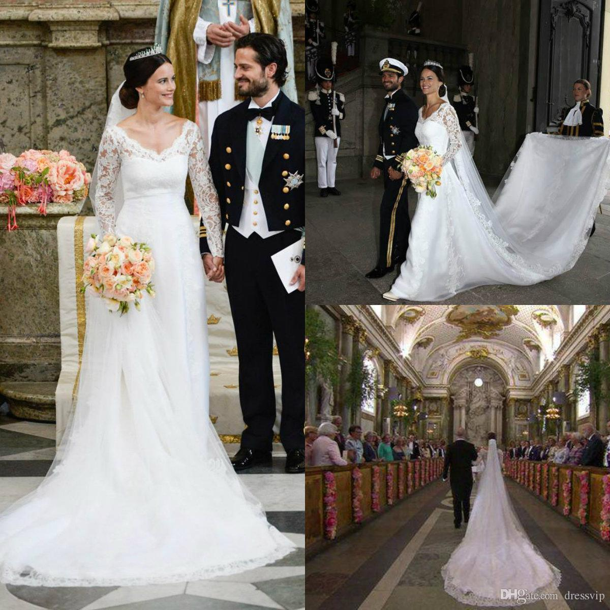 57b7527d541c3 Discount 2019 Royal A Line V Neck Long Sleeve Wedding Dresses Satin Sweep  Train Country Bridal Gowns Princess Lace Plus Size Wedding Dress Dresses  Online ...