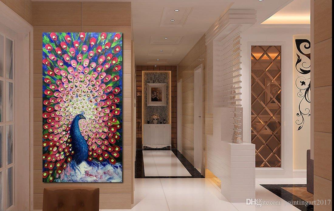Modern Abstract Painting Red Peacock in Plume Oil Hand Painting 3D Hand-Painted On Canvas Abstract Art