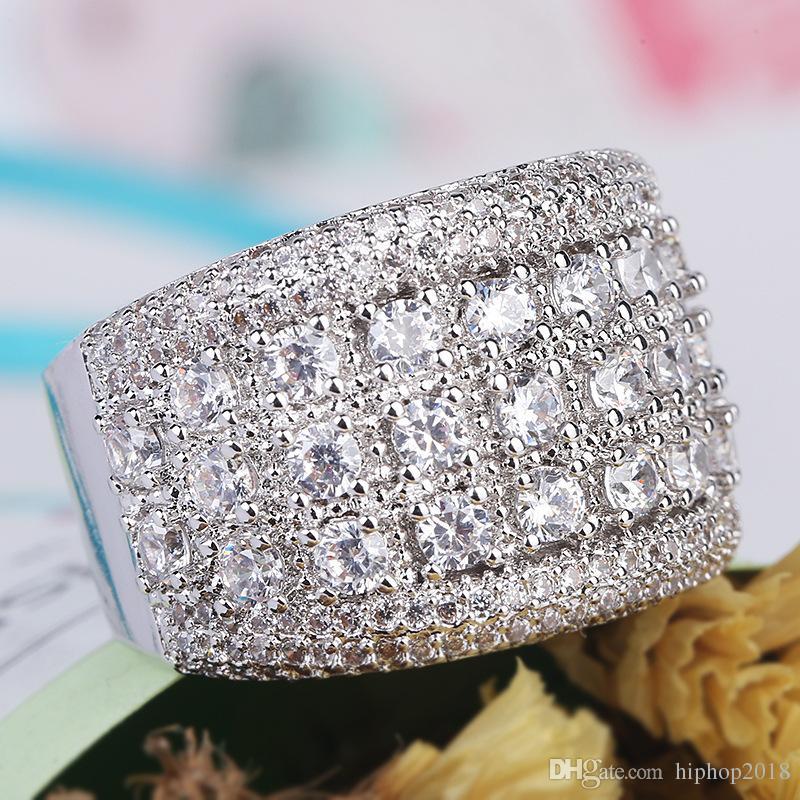 الرجال الفضة الماس الأحجار الدائري جودة عالية أزياء خواتم الخطبة الزفاف للنساء