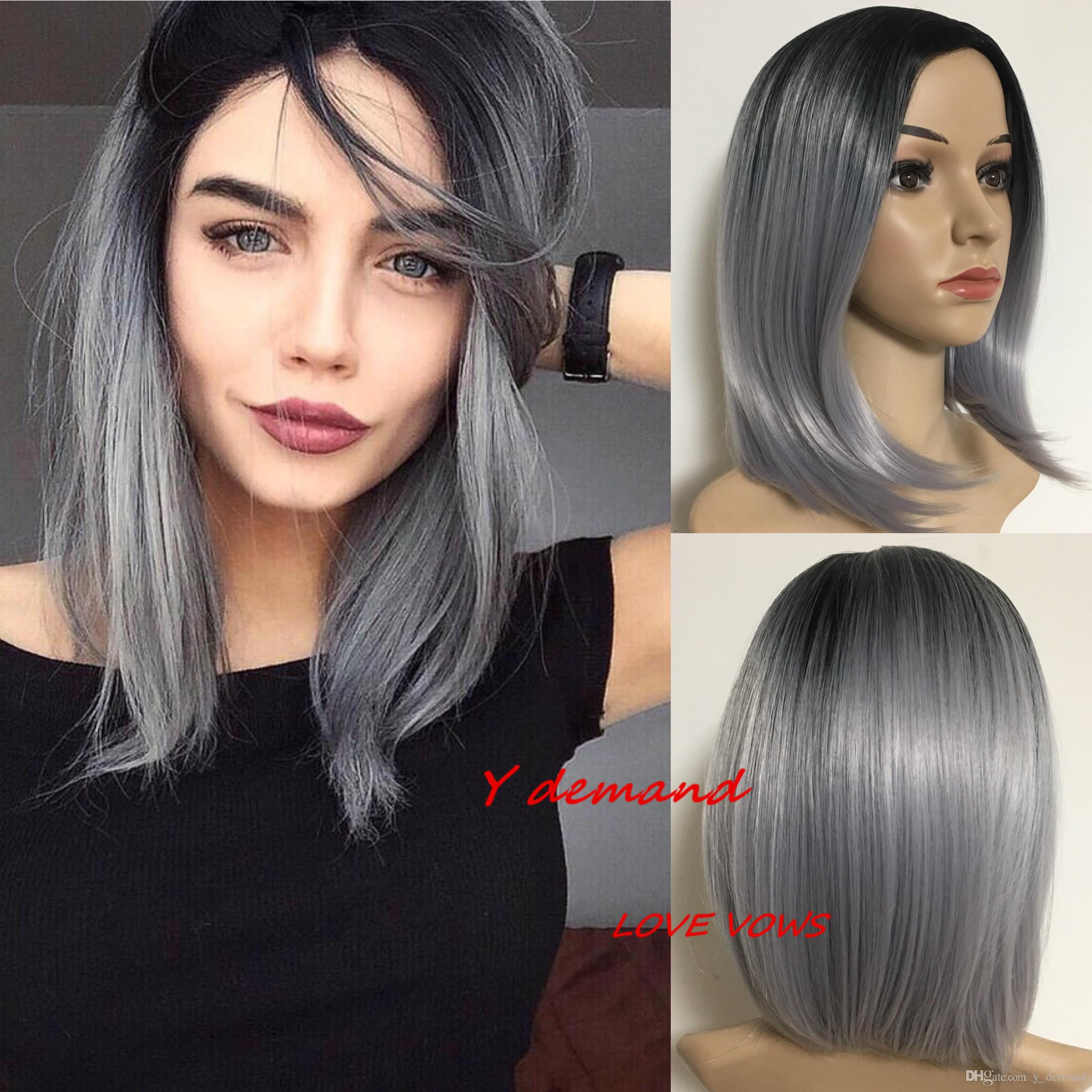 Fashion Short Straight Ombre Black Grey Afro Wig Synthetic Wigs