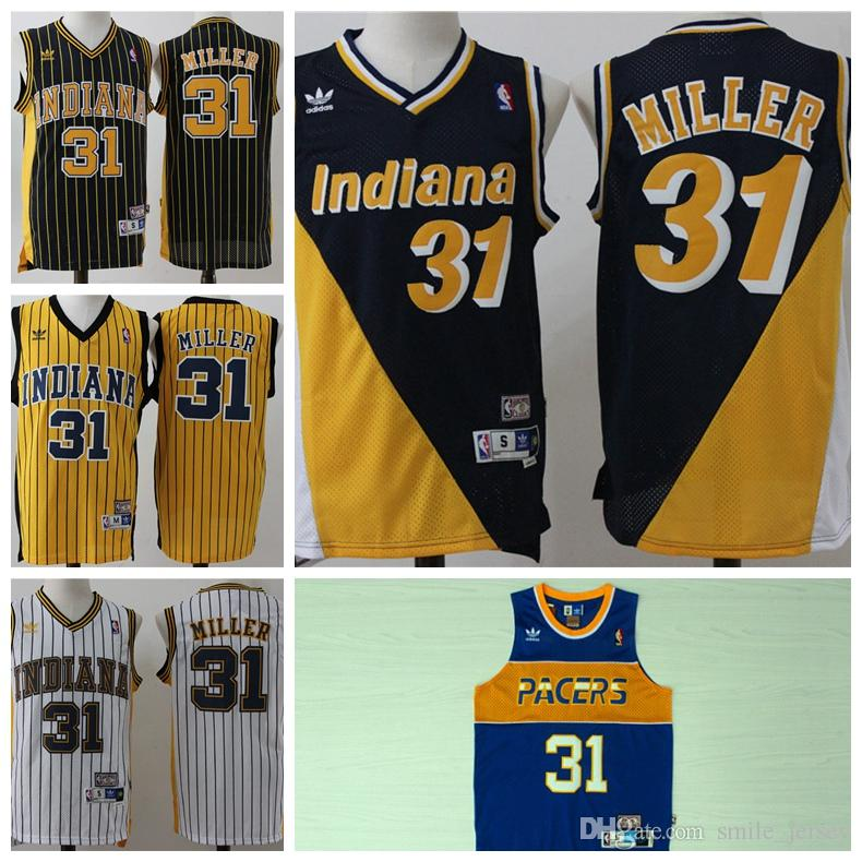 0bd34bacab4 2018 Retro Mens 31 Reggie Miller Basketball Jerseys Stitched Hardwood  Classic Mesh Indiana Pacers Pacers Reggie Miller Retro Basketball Jersey  From ...