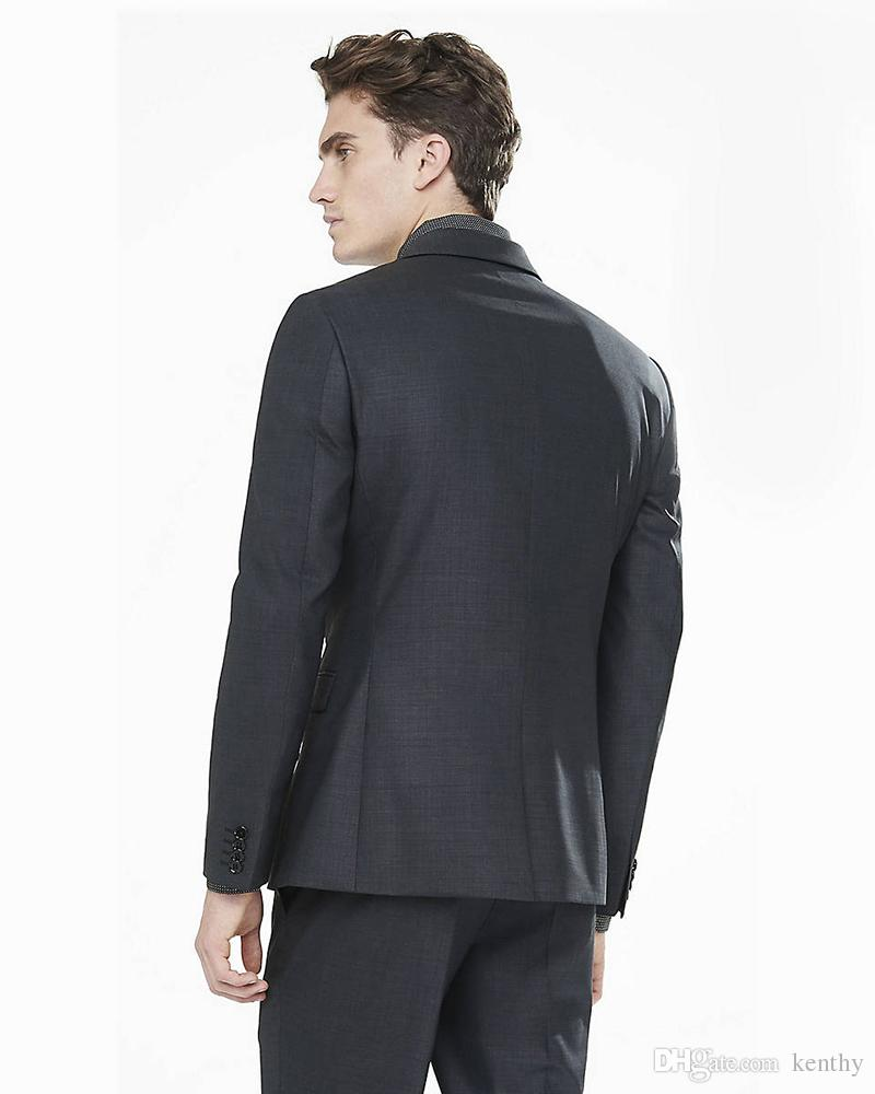 2018 Hommes Noir Costumes Costumes de mariage Blazer formel Custom Made 2 Pièces sur mesure Smoking Slim Fit Groomsman formelle Prom Best Man veste + pantalon