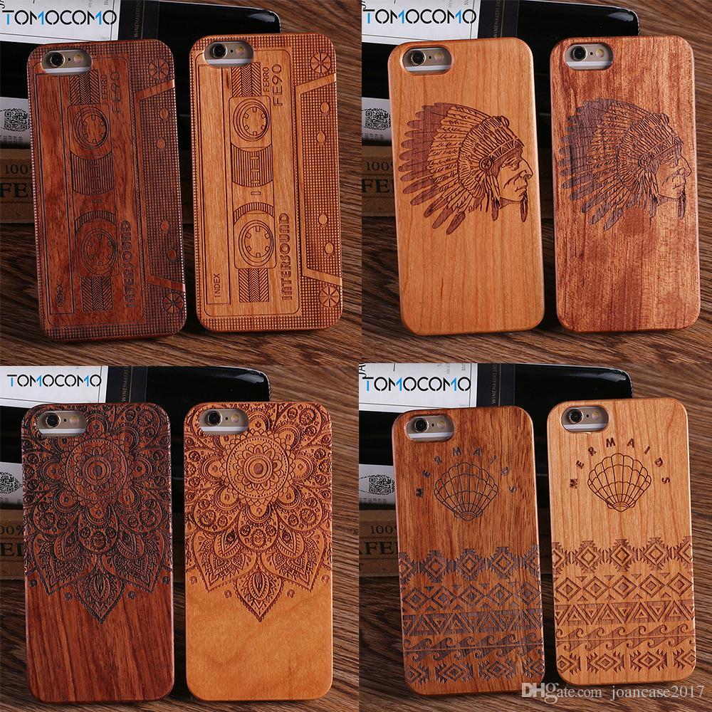 For iPhone6 6Plus 7 7Plus 8 8Plus Indian Mandala Elephant Tribal Skull Cat  Owl Wood Case For SAMSUNG Galaxy S7 Edge S8 plus
