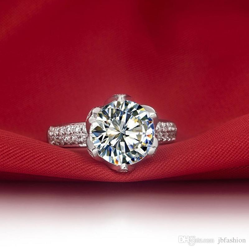 Romantic 2 CT Lotus Wedding Engagement Ring Round Cut Synthetic Diamond Fancy Ring Sterling Silver Jewelry Platinum Plated Rings for Women