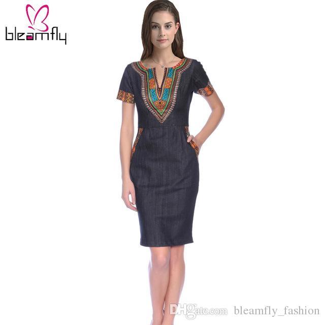 a386ec1851 Vestido de mezclilla de verano de las mujeres Volver Blue Office Ladies  Jeans con cremallera Vestidos de Dashiki 3XL Plus Size Africa Print Vestido  de ...